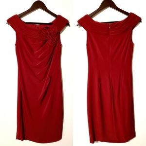 Adrianna Papell Red Dress with Side Cascade